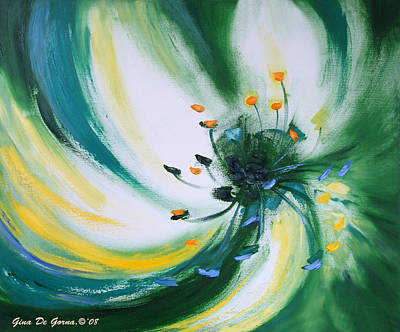 Painting - From The Heart Of A Flower Green by Gina De Gorna