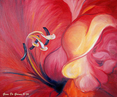 Painting - From The Heart Of A Flower Red by Gina De Gorna
