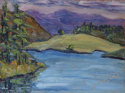 Zanobia Painting - From The Island To The Island At Steamboat Lake State Park Colorado by Zanobia Shalks