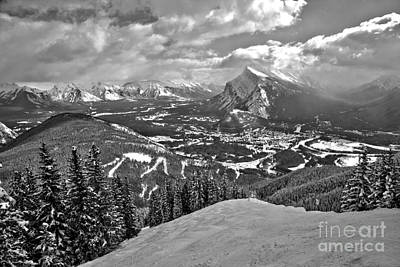Photograph - From The Norquay Slopes To The Peak Pf Rundle Black And White by Adam Jewell