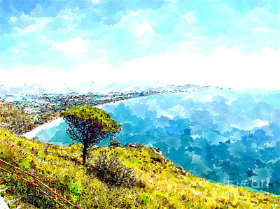 Digital Art - From The Tempio Di Giove Anxur Landscape With Pine Tree, Sea And Coastline by Giuseppe Cocco