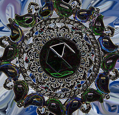 Abtract Digital Art - From Vintage Rhinestone Brooch by MountainSky S