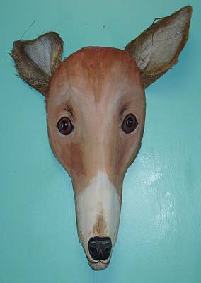 Greyhound Mixed Media - Frondly Greyhound by Ellen Burns