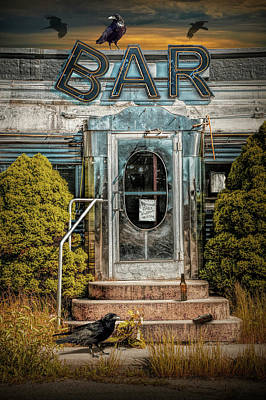Photograph - Front Door To The Bar Portion Of Historic Rosie's Diner by Randall Nyhof