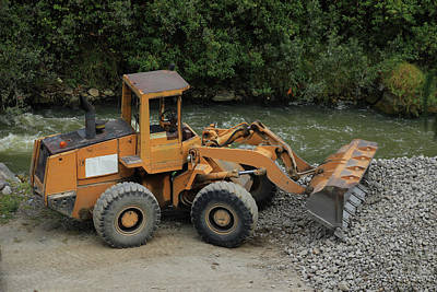 Front End Loader And Rock Pile Art Print by Robert Hamm