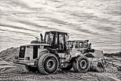 Front End Loader Black And White Art Print