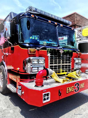 Photograph - Front Of Fire Truck With Hose by Susan Savad