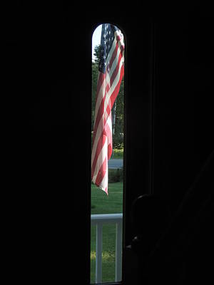 Photograph - Front Porch Flag by Bill Tomsa