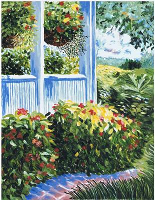 Impatients Painting - Front Porch Of The Longview Farm House by Joan Williams