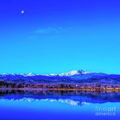 Photograph - Front Range View With Moon by Jon Burch Photography