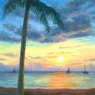 Front Row Seating, Sailboats At Sunset, Honolulu Beach Original by Elaine Farmer