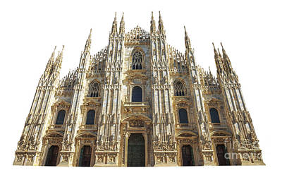 Photograph - front square Duomo cathedral by Benny Marty