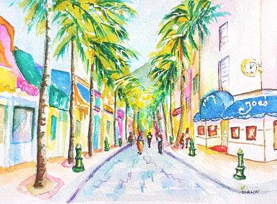 Sint Maarten Painting - Front Street Philipsburg St. Maarten  by Carlin Blahnik CarlinArtWatercolor