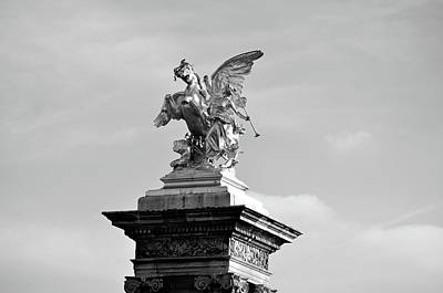 Photograph - Front View Of Pegasus And Fames Above Pont Alexandre IIi Bridge Column Paris France Black And White by Shawn O'Brien