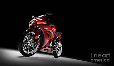 Photograph - Front View Of Red Sport Motorcycle In A Spotlight by Michal Bednarek