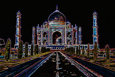 Sahara Mixed Media - Front View Of Taj Mahal by VRL Art