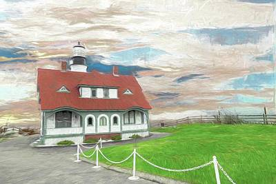 Digital Art - Front View Portland Head Light by Rusty R Smith