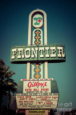 Photograph - Frontier Hotel Sign, Las Vegas by Paul Warburton
