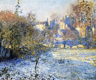 Weathered Painting - Frost by Claude Monet