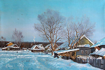 Village Painting - Frost In A Village by Alexander Volya