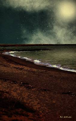 Sea Moon Full Moon Painting - Frost Moon At Midnight by RC deWinter