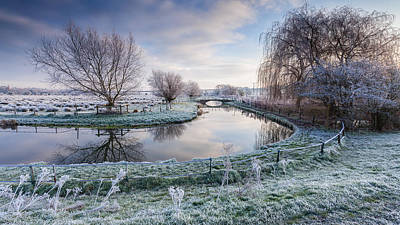 Bridge Photograph - Frost On The Marshes by George Johnson