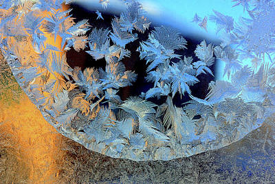 Photograph - Frost Patterns On Window 5 by Victor Kovchin