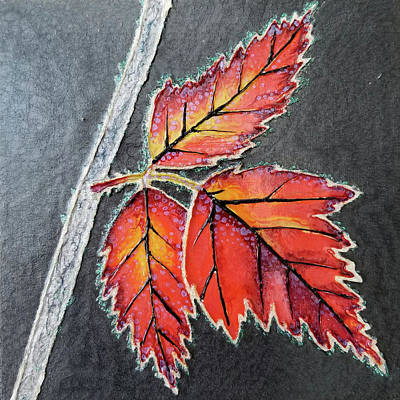 Mixed Media - Frosted Leaves by Michelle Vyn