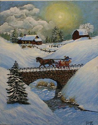 Horse And Sleigh Painting - Frosty Adventure by Louise Gray- Creative Expressions of Art