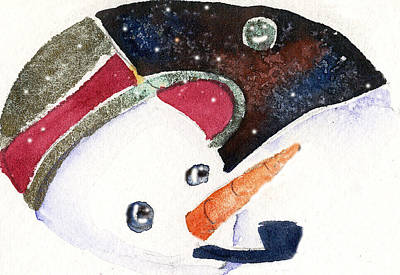 Carrot Drawing - Frosty And The Moon by Mindy Newman