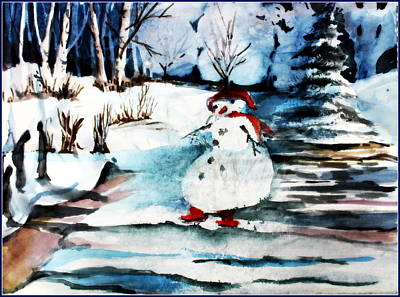 Fantasy Tree Art Drawing - Frosty And The Mystic Snow Angels by Mindy Newman