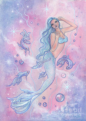 Frosty Betta Mermaid Print by Renee Lavoie