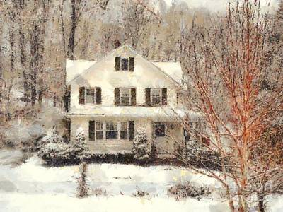 Frosty Farmhouse Morning Art Print by Janine Riley