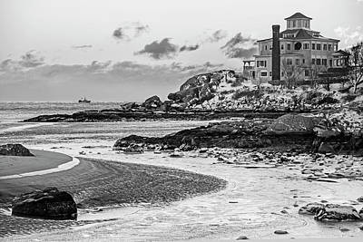 Photograph - Frosty Morning On Good Harbor Beach Gloucester Ma Mansion Black And White by Toby McGuire