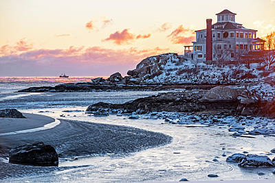 Photograph - Frosty Morning On Good Harbor Beach Gloucester Ma Mansion by Toby McGuire