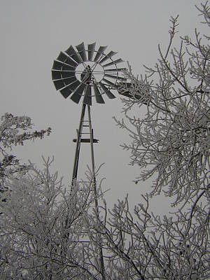 Frosty Windmill Art Print by Deena Keller