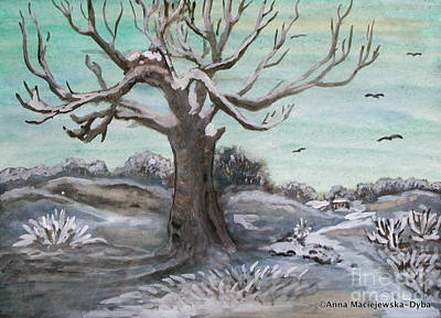 Folkartanna Painting - Frosty Winter Day by Anna Folkartanna Maciejewska-Dyba