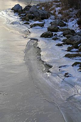 Photograph - Frozen Shoreline Saint Clair 1 by Mary Bedy