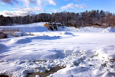 Maine Winter Photograph - Frozen Androscoggin River by Olivier Le Queinec