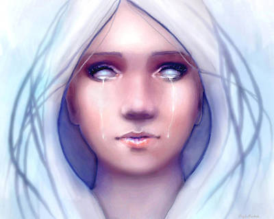 Female Portrait Digital Art - Frozen by Angela Murdock