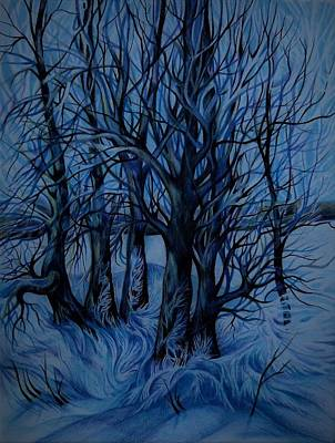 Drawing - Frozen Aspens by Anna Duyunova