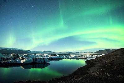 Print featuring the photograph Frozen Auroras by Brad Scott