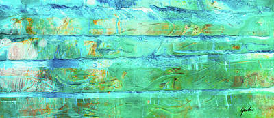 Painting - Frozen - Blue Green And White Colorful Abstract Art by Modern Art Prints