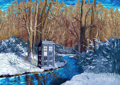 Painting - Frozen Blue Phone Box Art by Three second