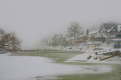 Row Boat Digital Art - Frozen Boathouse Row In Philadelphia by Bill Cannon