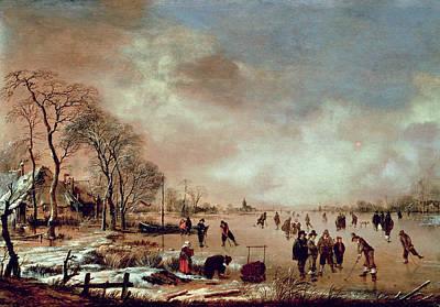 Snow Scene Painting - Frozen Canal Scene  by Aert van der Neer