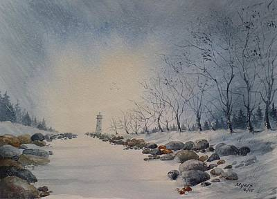 Snow Scape Painting - Frozen Channel by David K Myers