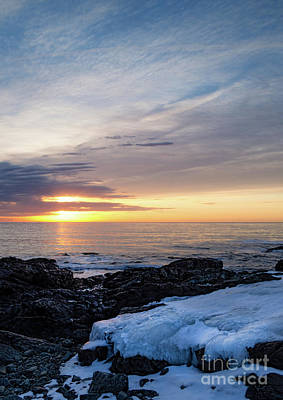 Photograph - Frozen Daybreak, Ogunquit, Maine  -31138 by John Bald