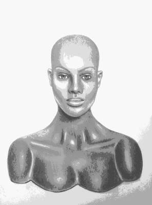 Superficial Bald Woman Art Charcoal Drawing  Art Print