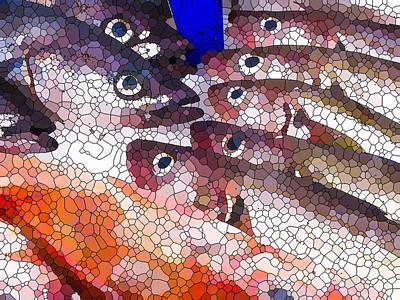 Painting - Frozen Fish On Ice by Jeelan Clark